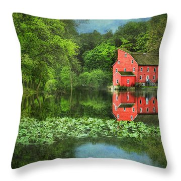 Red Mill Art Throw Pillow