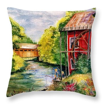 Red Mill At Waupaca Throw Pillow by Marilyn Smith