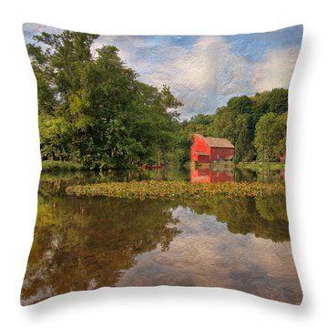 Red Mill Mural Throw Pillow