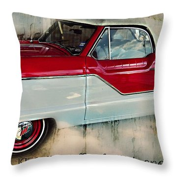Red Mini Nash Vintage Car Throw Pillow by Peggy Franz