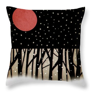Red Moon And Snow Throw Pillow