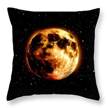 Red Moon Throw Pillow by James Barnes