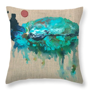 Red Moon Over Santa Fe Throw Pillow by Catherine Jeltes
