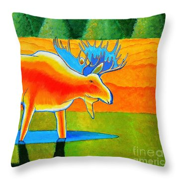 Throw Pillow featuring the painting Red Moose by Joseph J Stevens