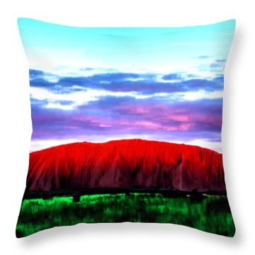 Throw Pillow featuring the painting Red Mountain Sunset by Bruce Nutting