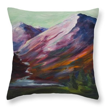 Red Mountain Surreal Mountain Lanscape Throw Pillow