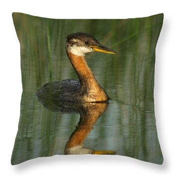 Throw Pillow featuring the photograph Red-necked Grebe by James Peterson