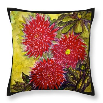 Red N'white Mums Throw Pillow