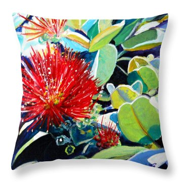 Red Ohia Lehua Flower Throw Pillow