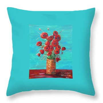 Throw Pillow featuring the painting Red On My Table  by Eloise Schneider