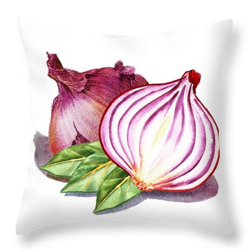 Red Onion And Bay Leaves Throw Pillow