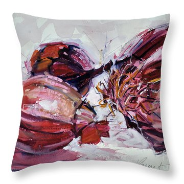 Throw Pillow featuring the painting Red Onions by Roger Parent