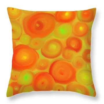 Red-orange Circle Abstract Throw Pillow by Karen Buford