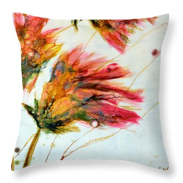 Red Orange Flowers Throw Pillow