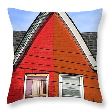 Throw Pillow featuring the photograph Red-orange House by Nina Silver