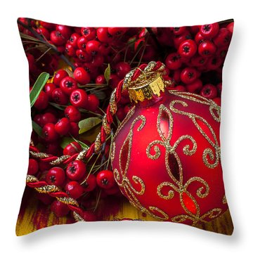 Red Ornament And Berries Throw Pillow