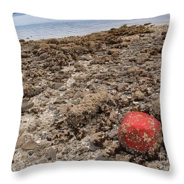 Red Out Of Place Throw Pillow