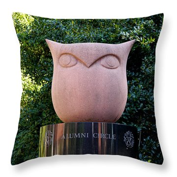Red Owl At Temple Throw Pillow