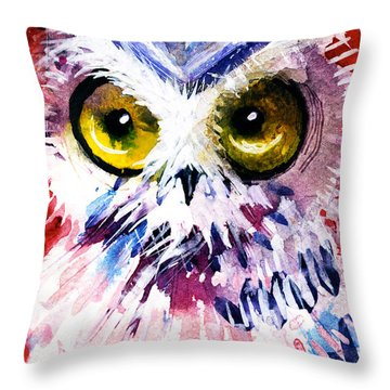 Red Owl Throw Pillow