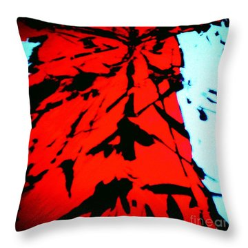 Red Owl Watching Over Me Throw Pillow by Jacqueline McReynolds