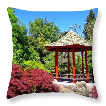Red Pagoda Throw Pillow