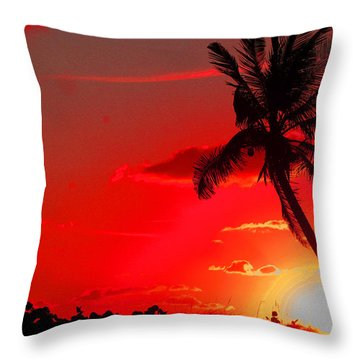 Red Palm Throw Pillow