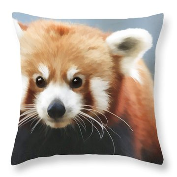 Red Panda Staring Throw Pillow