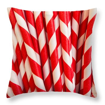 Red Paper Straws Throw Pillow by Edward Fielding