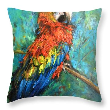 Red Parot Throw Pillow