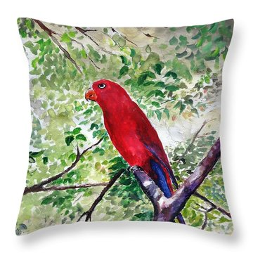 Red Parrot Of Papua Throw Pillow