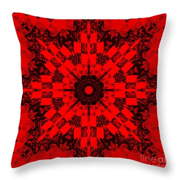 Red Patchwork Art Throw Pillow by Barbara Griffin
