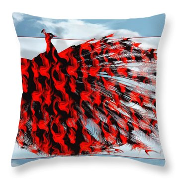 Red Peacock Throw Pillow