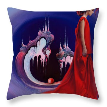 Red Pearl Castle Throw Pillow