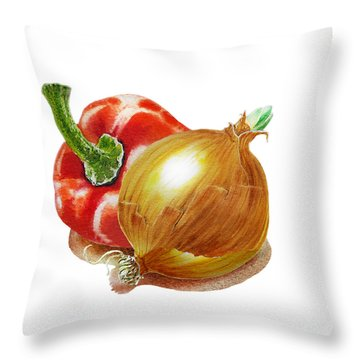 Red Pepper And Yellow Onion Throw Pillow