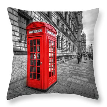 Red Phone Box And Big Ben Throw Pillow