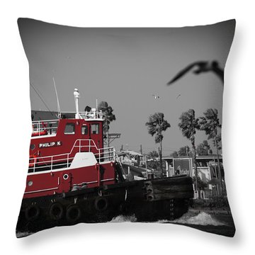 Red Pop Tugboat Throw Pillow by Bartz Johnson