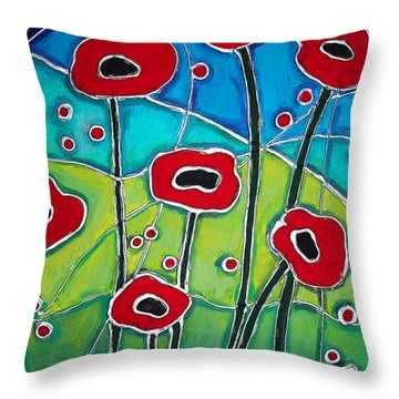 Red Poppies 1 Throw Pillow