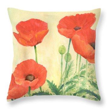 Red Poppies 3 Colorful Watercolor Poppy Floral Original Art Flowers Garden Artist K. Joann Russell Throw Pillow