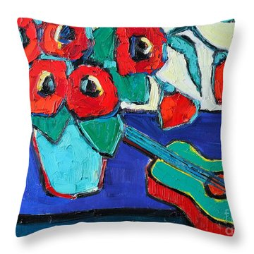 Red Poppies And Guitar  Throw Pillow by Ana Maria Edulescu