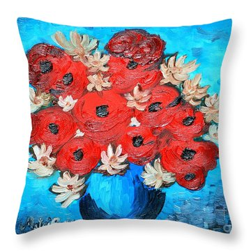 Red Poppies And White Daisies Throw Pillow