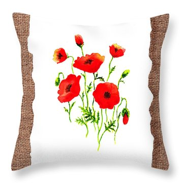 Red Poppies Decorative Collage Throw Pillow
