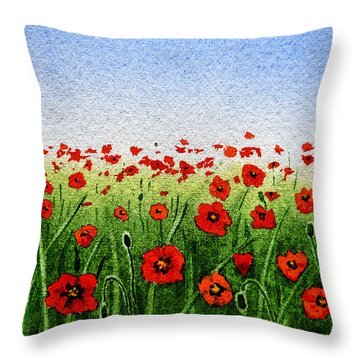 Red Poppies Green Field And A Blue Blue Sky Throw Pillow