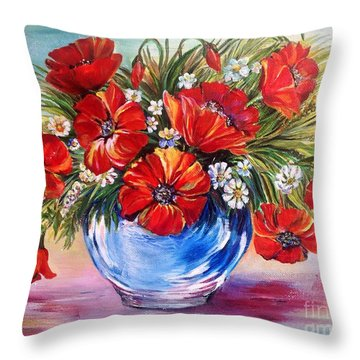Red Poppies In Blue Vase Throw Pillow by Iya Carson