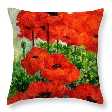 Red  Poppies In Shade Colorful Flowers Garden Art Throw Pillow