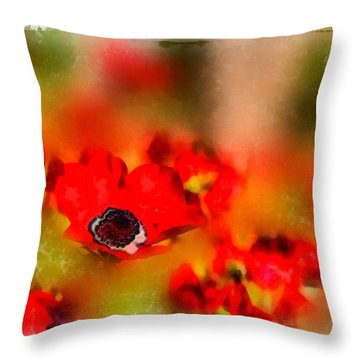 Red Poppies Inspiration Throw Pillow