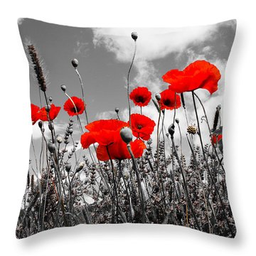 Red Poppies On Black And White Background Throw Pillow