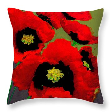 Red Poppies On Olive Throw Pillow
