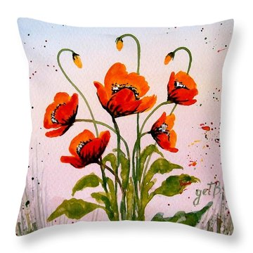 Red Poppies Original Watercolor  Throw Pillow