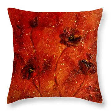 Red Poppies Throw Pillow by Robin Monroe