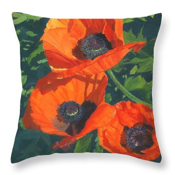 Throw Pillow featuring the painting Red Poppies Three by Lynne Reichhart